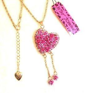 Fuchsia Rose Flower Love Heart Necklace